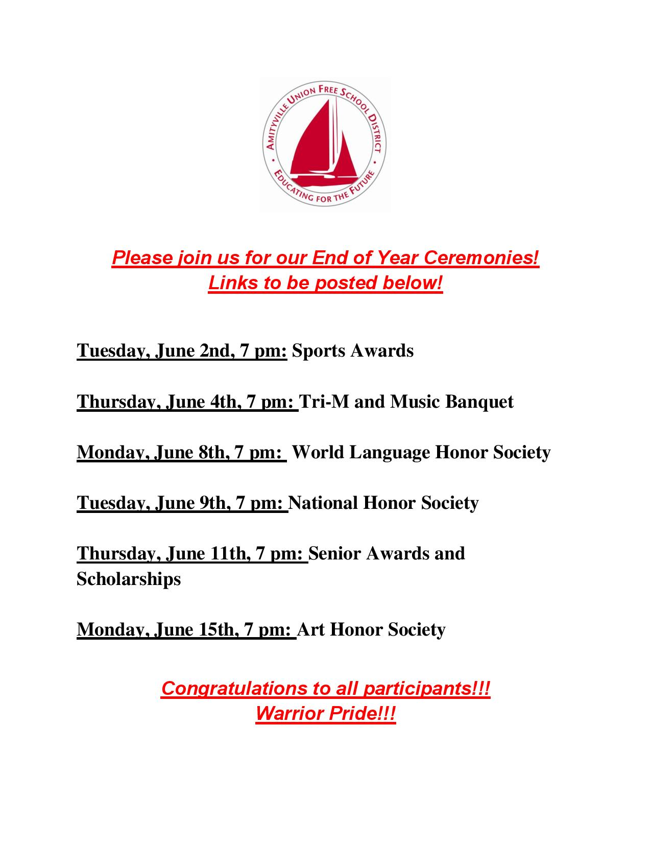 Amityville Memorial High School's End of Year Ceremonies Schedule and Videos